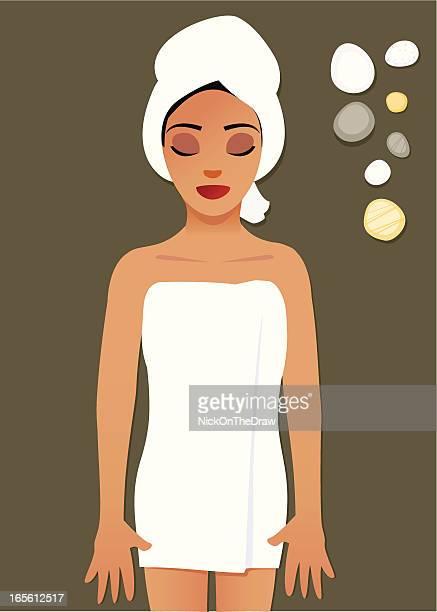 Frau mit einer entspannenden spa-Behandlung