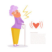 Woman heart attack Vector. Cartoon. Isolated art on white background.