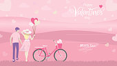 Woman holding heart shape balloons and bicycle with basket full of hearts looking at the landscape view with handwriting calligraphy text of happy valentines day in pink color theme with copy space, V