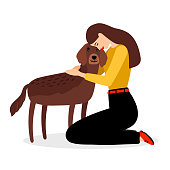 Woman hugging dog. People and pets friends vector illustration isolated on white background