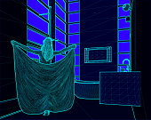 wire frame illustration of a woman covered with a towel in a bathroom