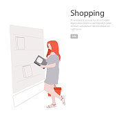 Woman in Book store vector  illustration. People retail library. Bookshelf business ui ux design. studing, education shopping concept