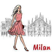 Hand-drawn sketch of woman in Milan at Piazza del Duomo in Italy.