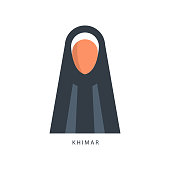Woman in Muslim Khimar headdress, female avatar in traditional Islamic  clothing vector Illustration isolated on 4d9c9292cc5