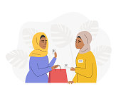 Muslim woman making purchases in retail shop, paying for goods. Shopping vector flat illustration