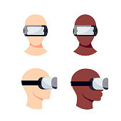 Set of heads in virtual reality headset. Vector illustration in flat style