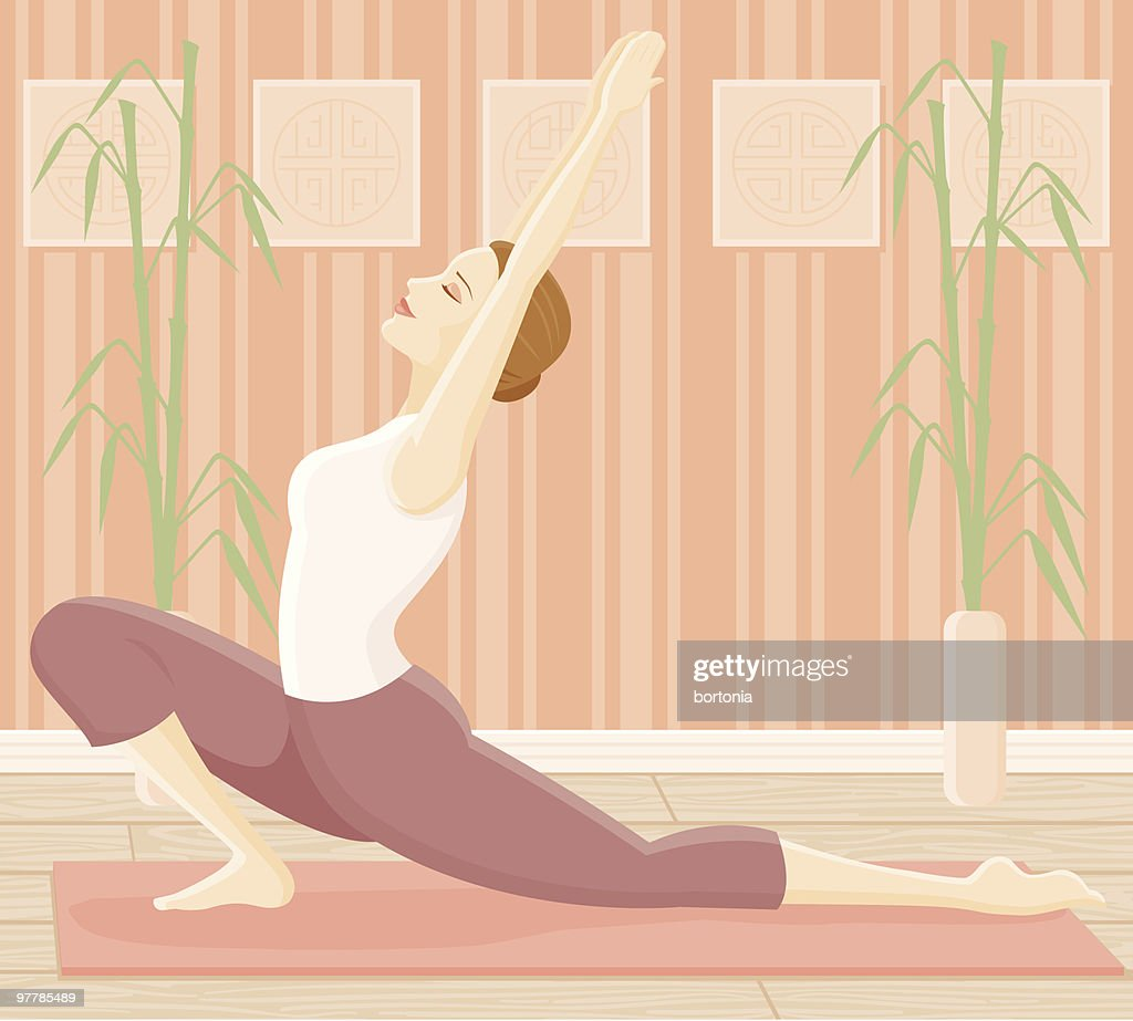 Woman in Yoga Pose - Lunge : Vector Art