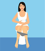 Vector illustration woman is sitting on the toilet.