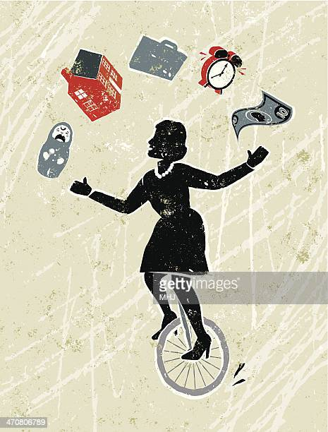Woman Juggling house, work, baby and finance on a Unicycle