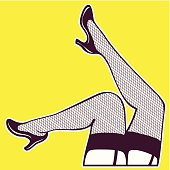 Vector design element of sensual seductive legs with stockings.