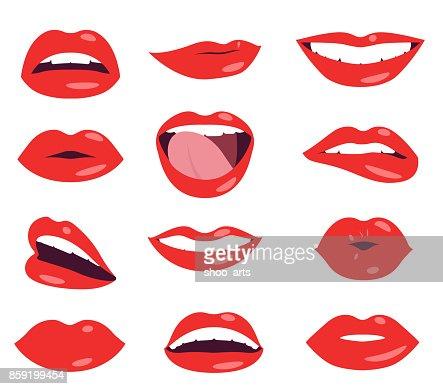 woman lips facial expression vector set : stock vector