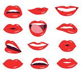 nude woman lips facial expression vector set