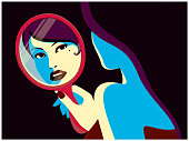 Woman looking at her face reflected in the mirror fashion minimal pop art style flat design vector illustration