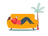 Woman lying on sofa with smartphone. Naive style vector.