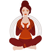 Illustration of a woman with closed eyes meditating in yoga lotus pose on white background
