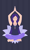 Illustration of a woman sitting in yoga lotus pose with colorful chakras on her neck
