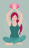 Vector illustration of a woman sitting relaxed in yoga lotus pose