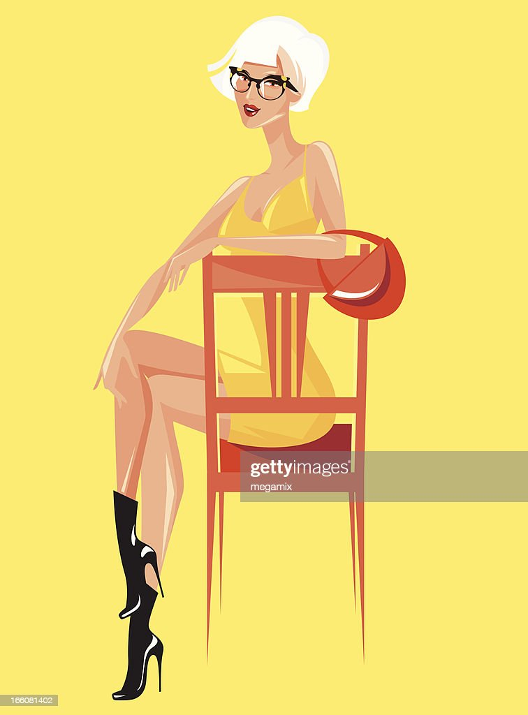 Woman on a chair. : Vector Art