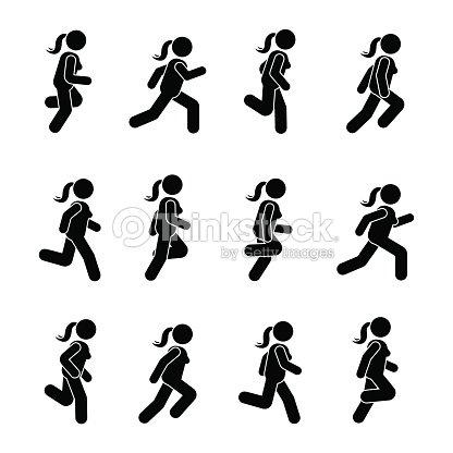 Frau Menschen Verschiedene Laufende Position Körperhaltung