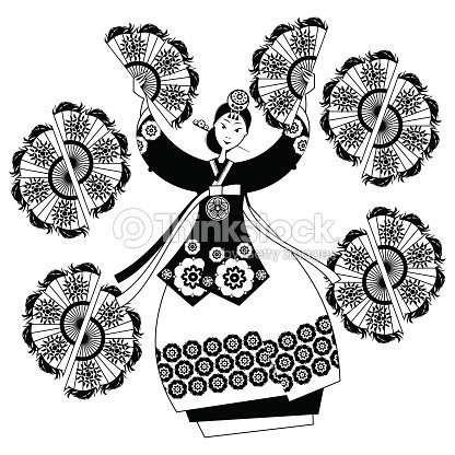 Woman performing traditional korean fan dance korean tradition black white