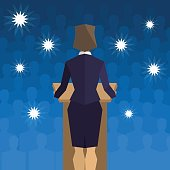 Woman politician behind the podium back to the people, Vector illustration