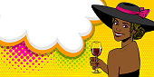 Elegance pop art woman in hat bow look back hold glass of wine. Black african girl. Comic text speech bubble vector illustration. Summer party poster advertisement. Retro vintage cartoon style.