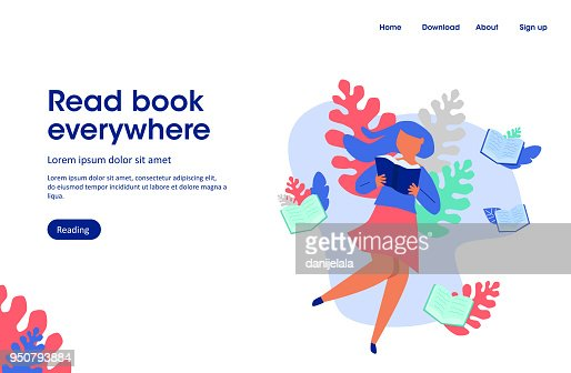 woman read book,  read book everywhere, landing page illustration : stock vector