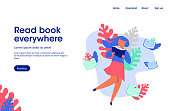 woman read book,  read book everywhere, landing page illustration, education, reading