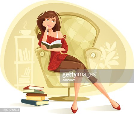 Woman Reading : Vector Art