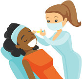 African woman getting cosmetic dermal injection in beauty salon. Caucasian white doctor making beauty injections to a client. Vector cartoon illustration isolated on white background. Square layout.