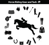 Woman Riding Horse Silhouette. Equestrian Sport Equipment Icons Set. Gear and Tack accessories.  Jacket, english saddle, breeches, gloves, boots, chaps, whip, horseshoes, grooming brush, pad, blanket,