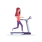 woman running treadmill sportswoman working out healthy lifestyle concept female cartoon character full length flat white background vector illustration