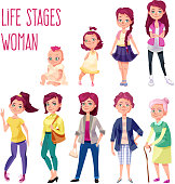 Age stages of a caucasian woman with funny purple hair. Represented baby, infant, junior school pupil, teenager, high school student, young adult, mature person, pensioner and old lady. Cartoon style.
