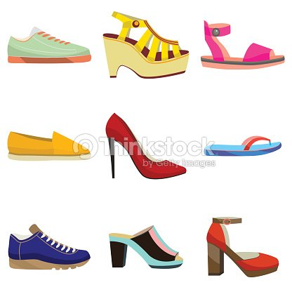 Woman Shoes Set Colorful Shoes In Cartoon Style For Banners And