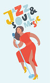 Vector cartoon illustration of isolated woman singer with mic on white background. Hand drawn lettering Jazz Soul Music
