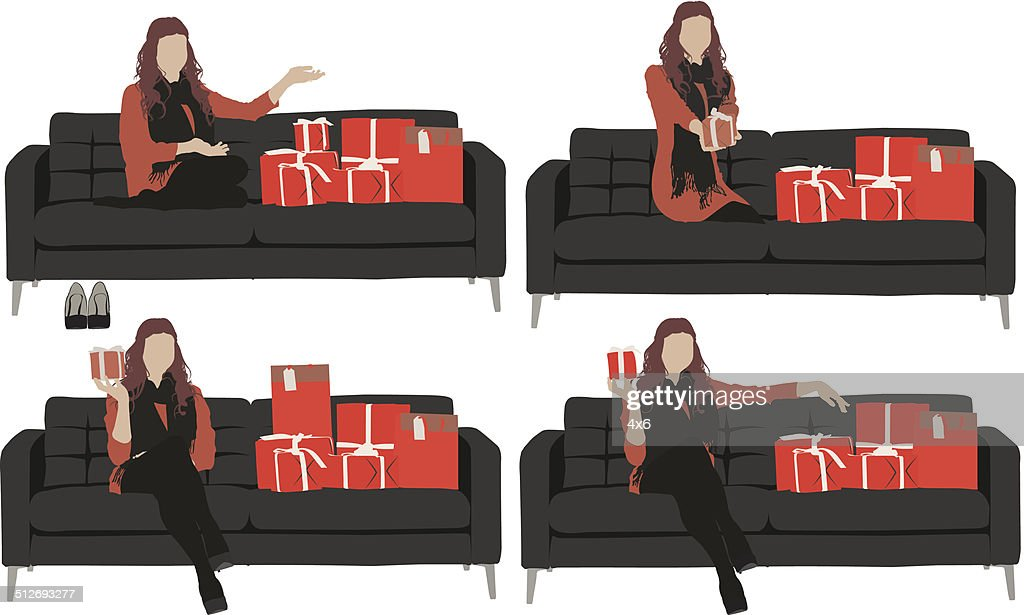 frau sitzt auf sofa mit vielen geschenkboxen vektorgrafik getty images. Black Bedroom Furniture Sets. Home Design Ideas