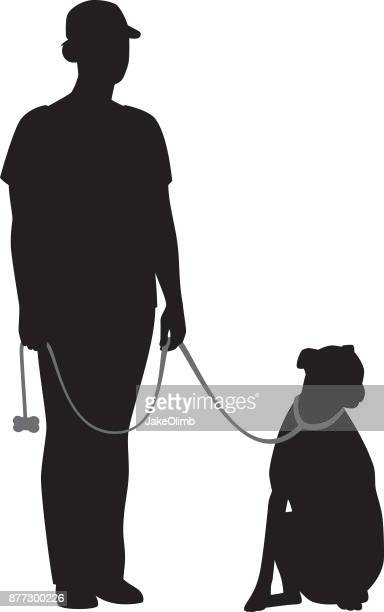 Woman Standing with Dog Silhouette