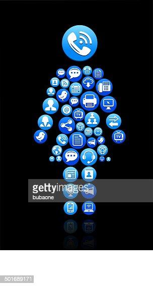 woman Stick Figure on Social Technology and Internet Set  Vector Art