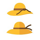 Woman summer hat vector illustration. Girl beach sunhat flat design icon isolated on white. Women hats  isolated on white background.