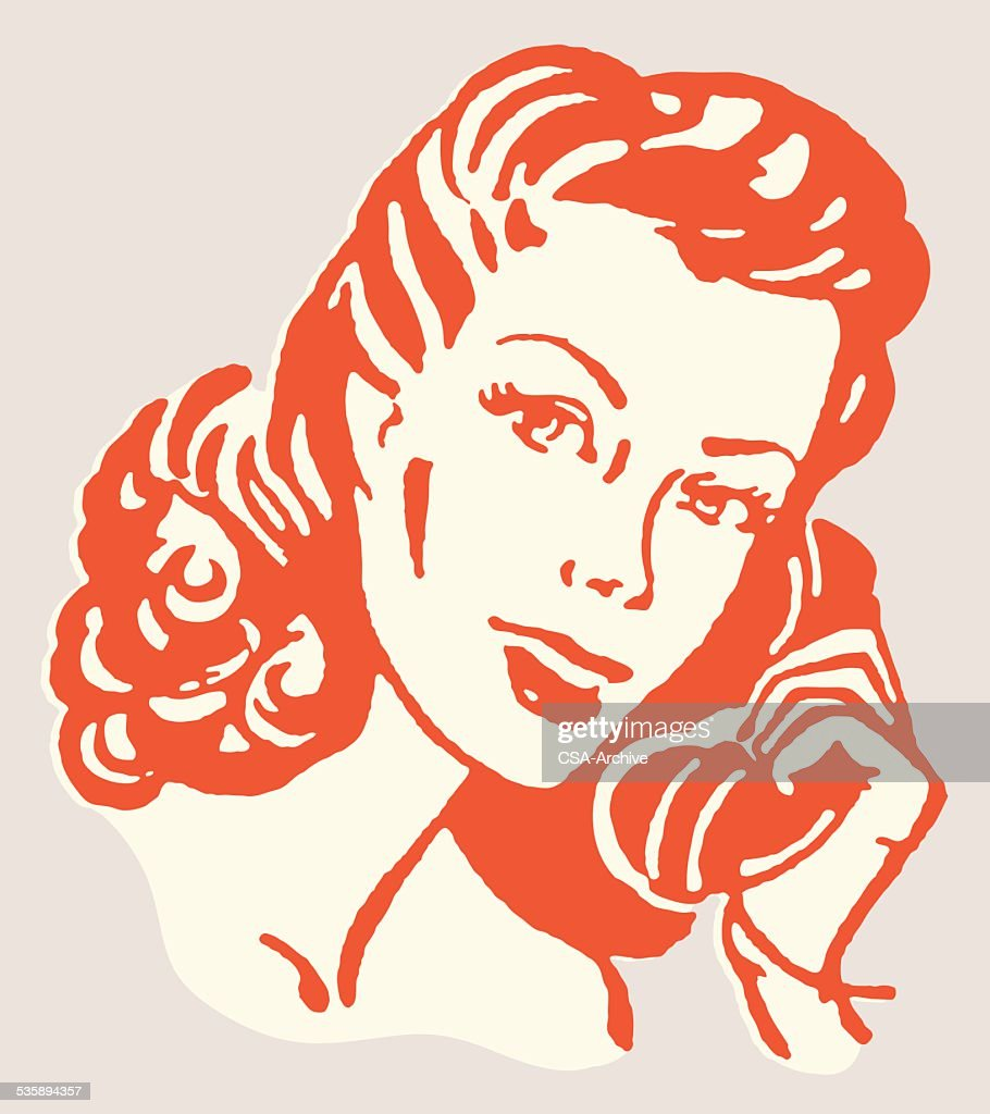 Woman Talking on the Telephone : Vector Art
