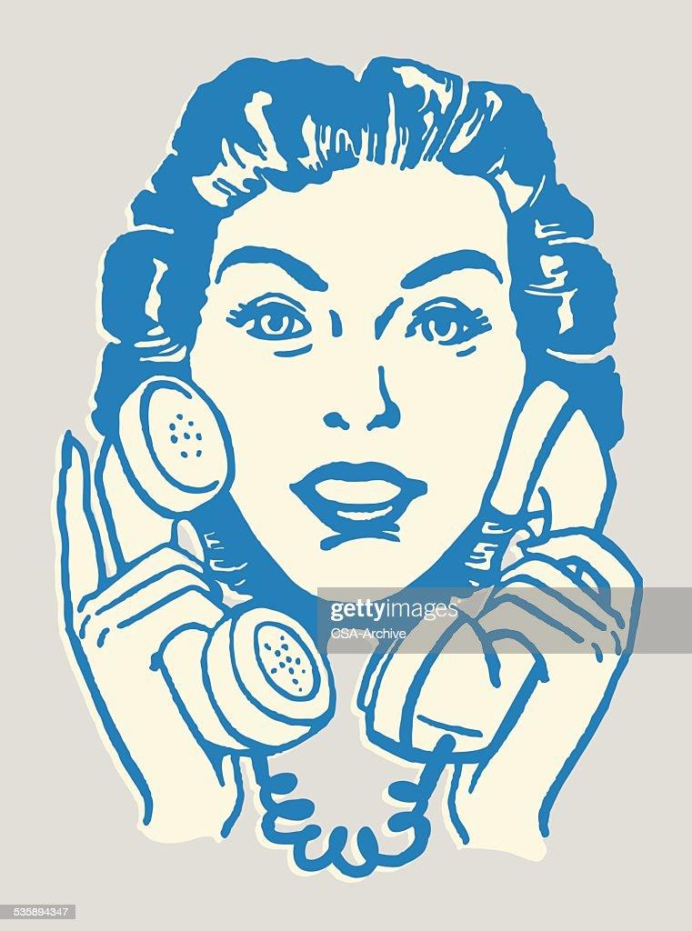 Woman Talking on Two Telephones : Vectorkunst