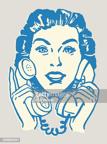 Woman Talking on Two Telephones : Vectorkunst