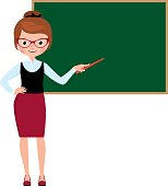 Woman teacher in full length standing at the school blackboard and holding a pointer Stock vector illustration