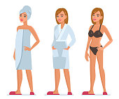 Woman after bathroom wear towel, bathrobe and underwear.  Flat style vector illustration isolated on white background.