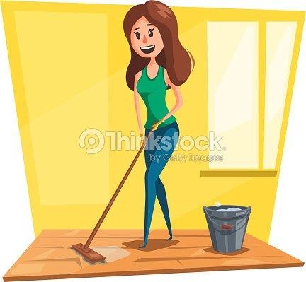 Frau waschen boden mit moppcartoonsymbol vektorgrafik for Boden cartoon