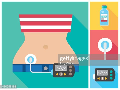 Woman wearing Insulin Infusion Pump Flat Color Icon Set : Vector Art