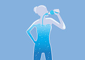 Woman with a glass body drinking pure water into her body. Illustration about healthy lifestyle concept.