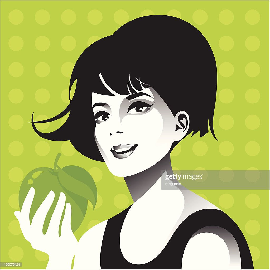 Woman with apple. : Vector Art