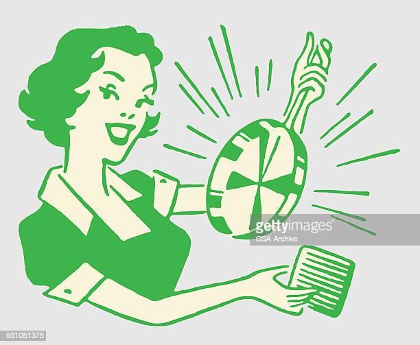 Femme avec Pot de brillant et épuré