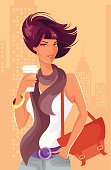 Woman with coffee cup in urban scenery. Eps and hi-res jpg.